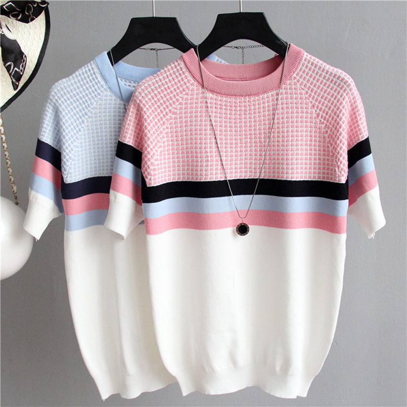 2020 Summer Short Sleeve Korean Sweater Knitted Pullover Women Sweaters Tops All-Match Basic Thin Pull Femme Jumper Female Pink