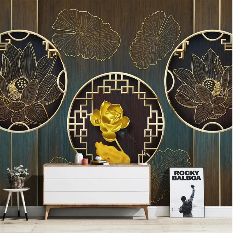 Large 3D wallpaper mural custom gold embossed lotus light luxury decorative painting TV sofa background wallpaper mural
