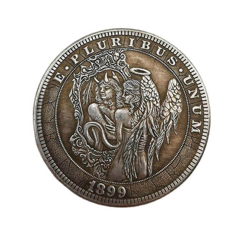1899 amerikanischen Wanderer Gedenkmünze Engel und Dämon Messing Silber Überzogene Vintage Handwerk Münze Hobo Sammeln Münze 1 stücke