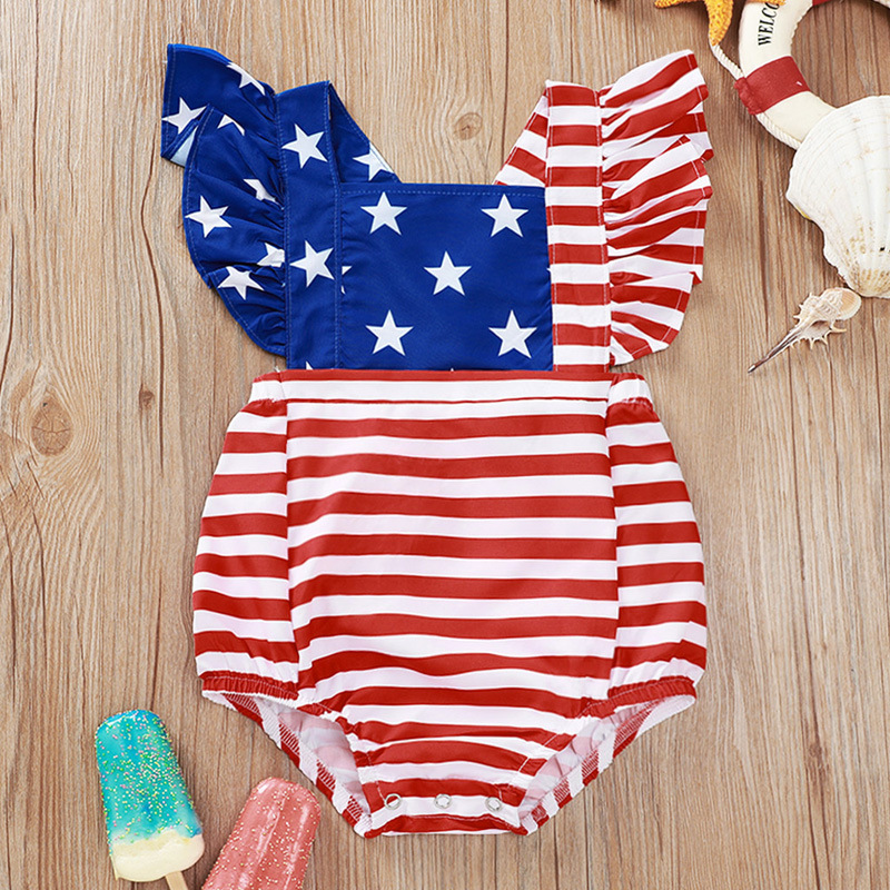 Newborn Infant/ Baby Boys Girls 4th of July Shorts Outfits Set American Flag Romper Shorts Summer Clothes Set