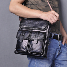 Quality Leather Male Design Messenger bag cowhide fashion Blue Cross-body