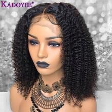 """Perwersyjne kręcone ludzkie włosy peruki brazylijski Remy włosy 13x4 koronki przodu peruka z lokami wstępnie oskubane 150 gęstości średni stosunek 8 16 """"dla kobiet"""