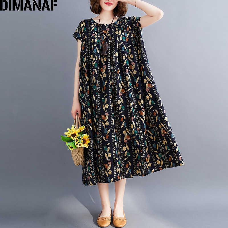 Dimanaf Vestido De Verano Para Mujer En Tallas Grandes Vintage Algodon Plisado Holgado Estampado Floral Vestidos Aliexpress