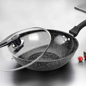 Image 5 - Pan Maifan Stone Wok Non stick Pan No smoke Induction Cooker Gas Stove 32CM34CM Stir fry Iron Pot Cooking Pot Kitchen Pots