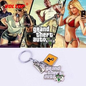 Image 1 - GTA5 Car Keychain Grand Theft Key Ring Auto Key Chain for Fans PS4 Xbox PC Rockstar Key Ring Holder 4.5cm