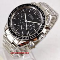 Nowy 40mm bliger czarna sterylna tarcza kopułkowa szklana stalowa bransoletka dzień tydzień wskaźnik mechaniczny automatyczny męski zegarek B215