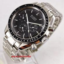 new 40mm bliger black sterile dial domed glass steel bracelet day week indicator Mechanical automatic mens watch B215