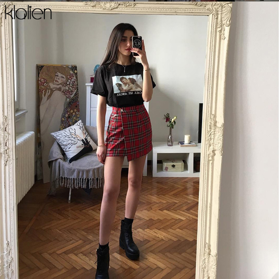 KLALIEN spring Vintage <font><b>red</b></font> <font><b>Plaid</b></font> mini <font><b>skirts</b></font> <font><b>Women</b></font> 2019 summer fashion office lady club party casual short pleated <font><b>skirts</b></font> mujer image