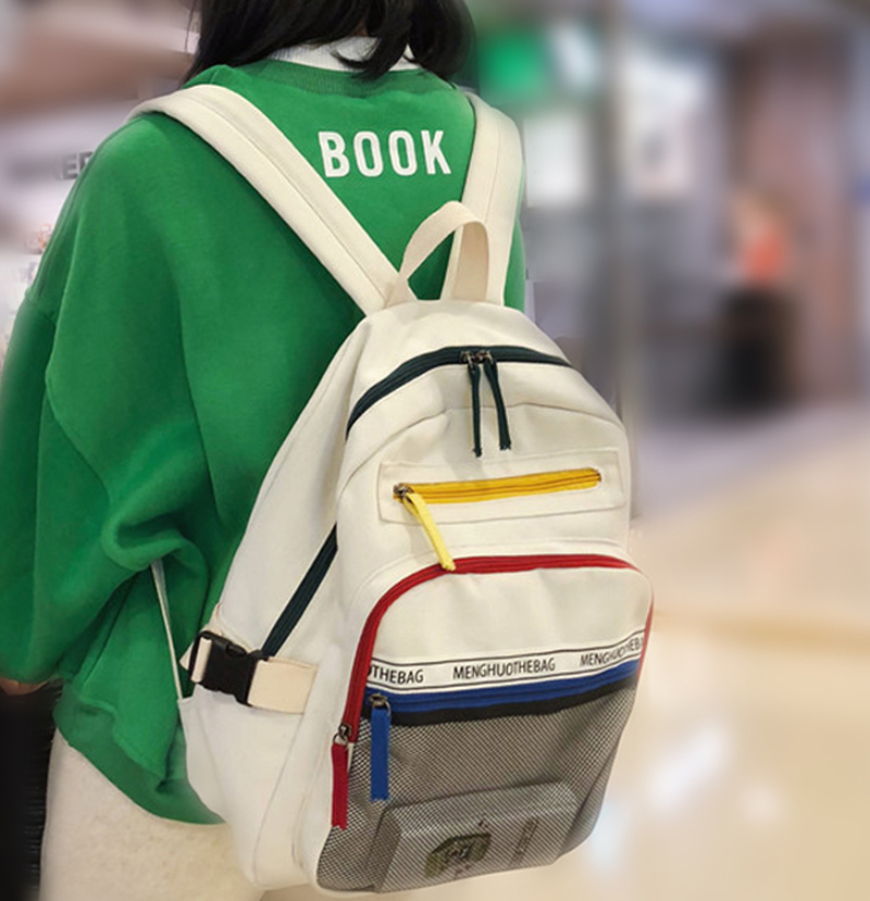 Large Women Canvas Backpack Fashion Female Panelled Travel Back Pack Girls'schoolbags For Teenagers Multilayer Book Bag Mochila