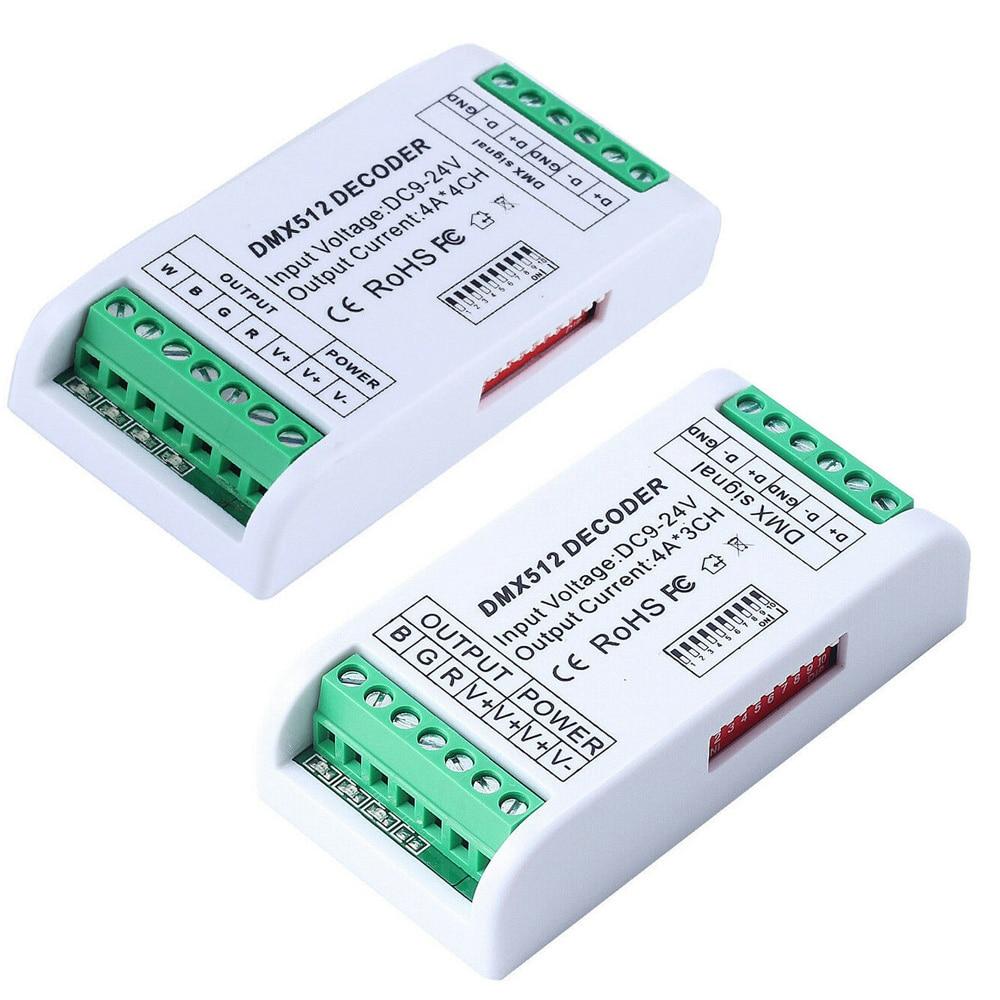 Новый Светодиодные ленты контроллер по протоколу DMX 512 декодер led RGB 3CH RGBW 4CH контроллер консоли Применение декоративное освещение дома огни Диммер 12 V-24 V