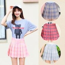 Короткая юбка для девочек платье для тенниса плиссированная юбка с высокой талией новая теннисная юбка для студентов Корейская клетчатая юбка Черлидинга колледжа ветра