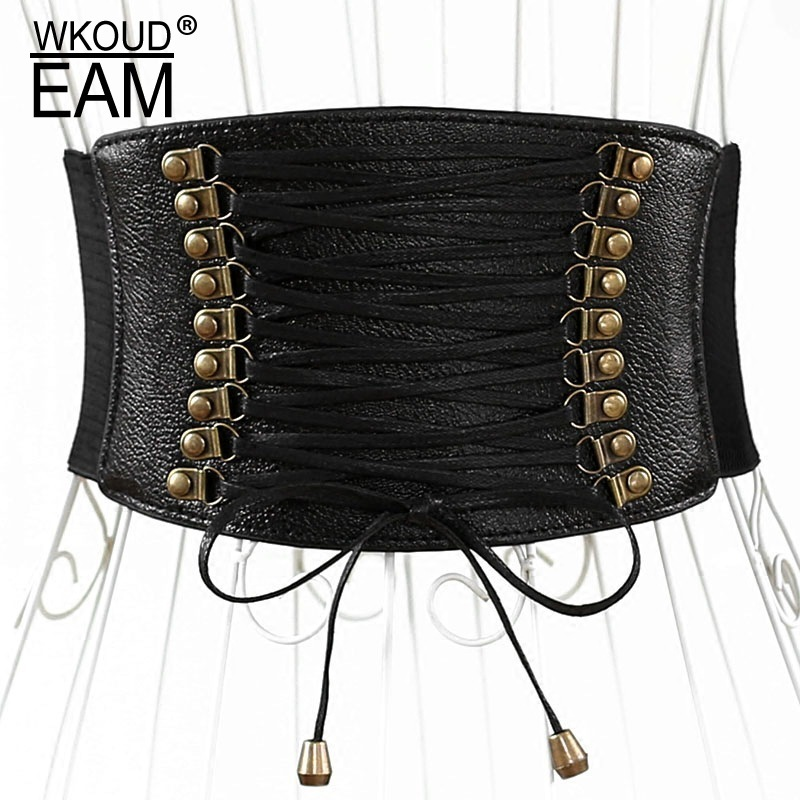 WKOUD EAM 2020 New Fashion Autumn Waist Seal For Women Drawstring Double Breasted Classic Casual Tide Belt Corset Female A2