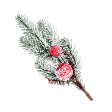 1pc Artificial Pine Needles Red Berry Branch for Flower Arrangements Christmas Tree Ornaments new