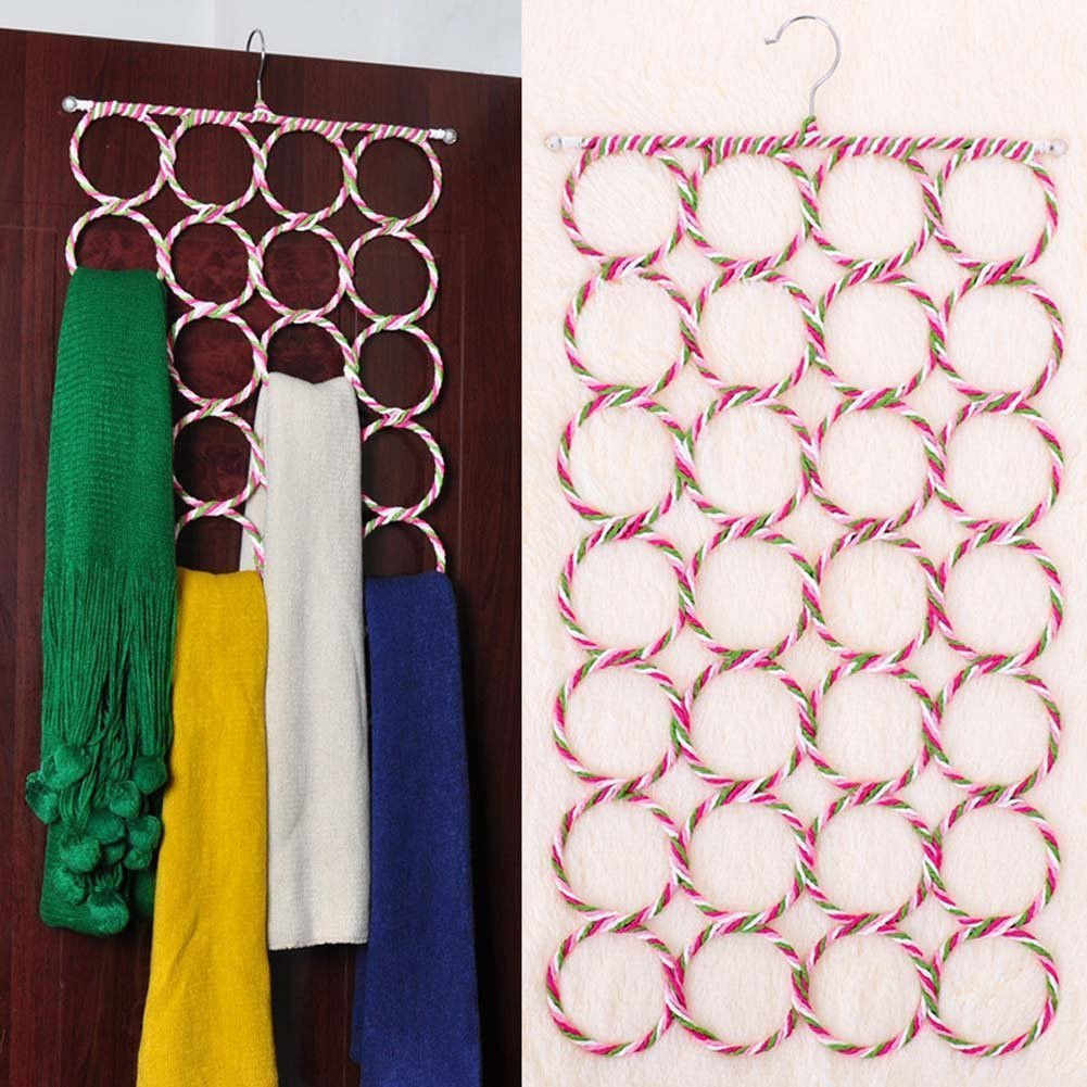 28 Ring Scarf Shawl Hangers for Clothes Holder Foldable Tie Belt Hook Organizer Rattan Weave Hanger Wardrobe Storage