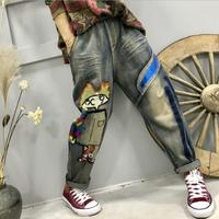 2019 new autumn women loose casual heavy craft washing printing embroidery denim pants female harem pants r1845