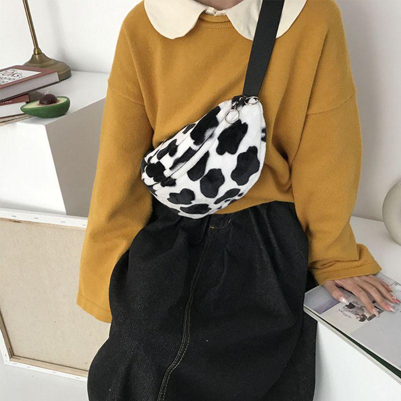 Women Cow Print Plush Waist Fanny Pack Pouch Travel Hip Bum Shoulder Bags Purse F42A