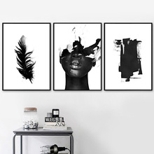 Abstract Feather Girl Figure Wall Art Canvas Painting Nordic Posters And Prints Black White Pictures For Living Room Decor