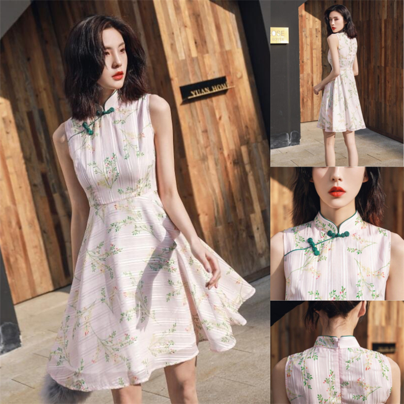 2019 Sexy Sleeveless Cheongsam Improved For Womens Modern Chinese Dress Chiffon Qipao Knee Length Floral Orientale Dresses