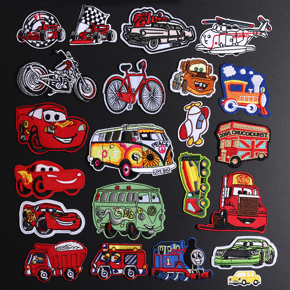 Mini CarTruck <font><b>Patches</b></font> For Clothing Applique Clothes Iron On <font><b>Patch</b></font> Jacket Embroidered Vehicle Sticker Sewing Motorcycle <font><b>Bus</b></font> Decor image