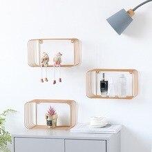 Marco decorativo de hierro minimalista nórdico para el hogar, colgante de pared para habitación de niño, estante geométrico, estantería de baño, estantes flotantes