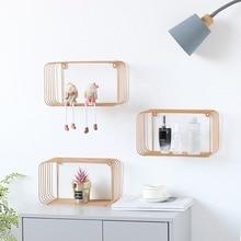 nordic minimalist  iron home decorative frame Hanging modern child room wall geometric shelf bathroom shelving  floating shelves