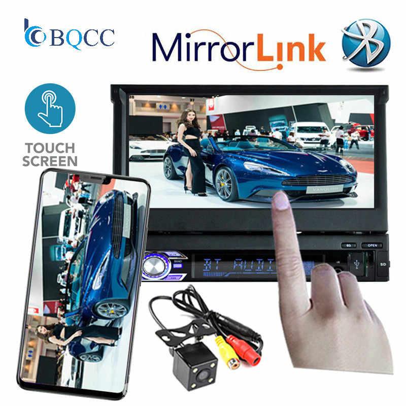 ホット 7 Din ラジオカーステレオオーディオインチ MP5 MP4 プレーヤー Aux/USB TF fm のタッチ画面の bluetooth 3 言語ミラーリンクメニュー