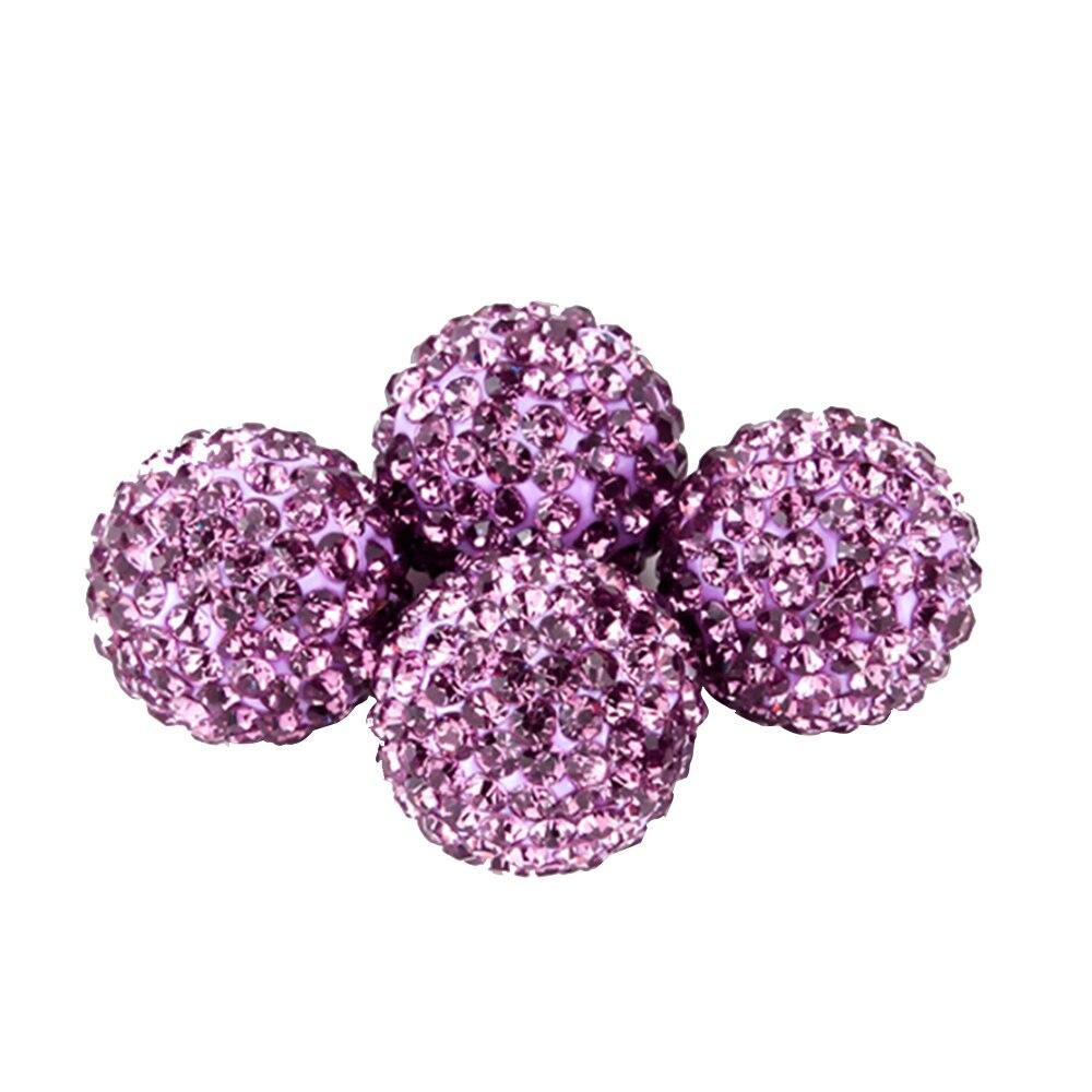 Новинка 4 шт Хрустальные шарики для автомобильных шин, колпачок для клапанов, стильный стержень для шин, воздушный колпачок для клапанов для шин, чехлы для автомобилей, женские автомобильные - Цвет: Purple