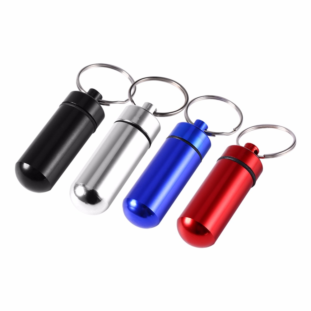 Travel Pill Box WaterProof Mini Blue Aluminum Keychain Tablet Storage Box Case Holder Drug Medicine Perfume Container Cosmetics