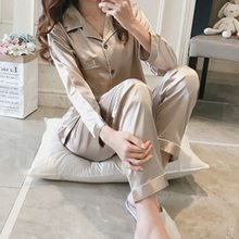 Lady Casual Satin Pajamas Suit With Silk Pyjama Women 2PCS Sleepwear Summer Sleep Set Lounge Female Kimono Bath Clothing(China)