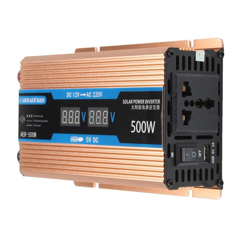 インバータ 500/1200/2200 ワット DC 12 V/AC 220V 電圧トランス純粋な正弦波電源インバータスマートダブル Lcd ディスプレイ車の電源