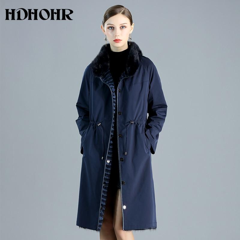HDHOHR 2019 New Women's Real Mink Fur Coat  Double Side Wear Natural Mink Fur Jackets  Winter Warm Strip Long  Fur Coat