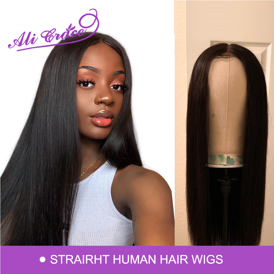Hair Human-Hair-Wigs Ali-Grace Lace-Front Straight Peruvian 360 with Remy 13--4 Ple-Plucked