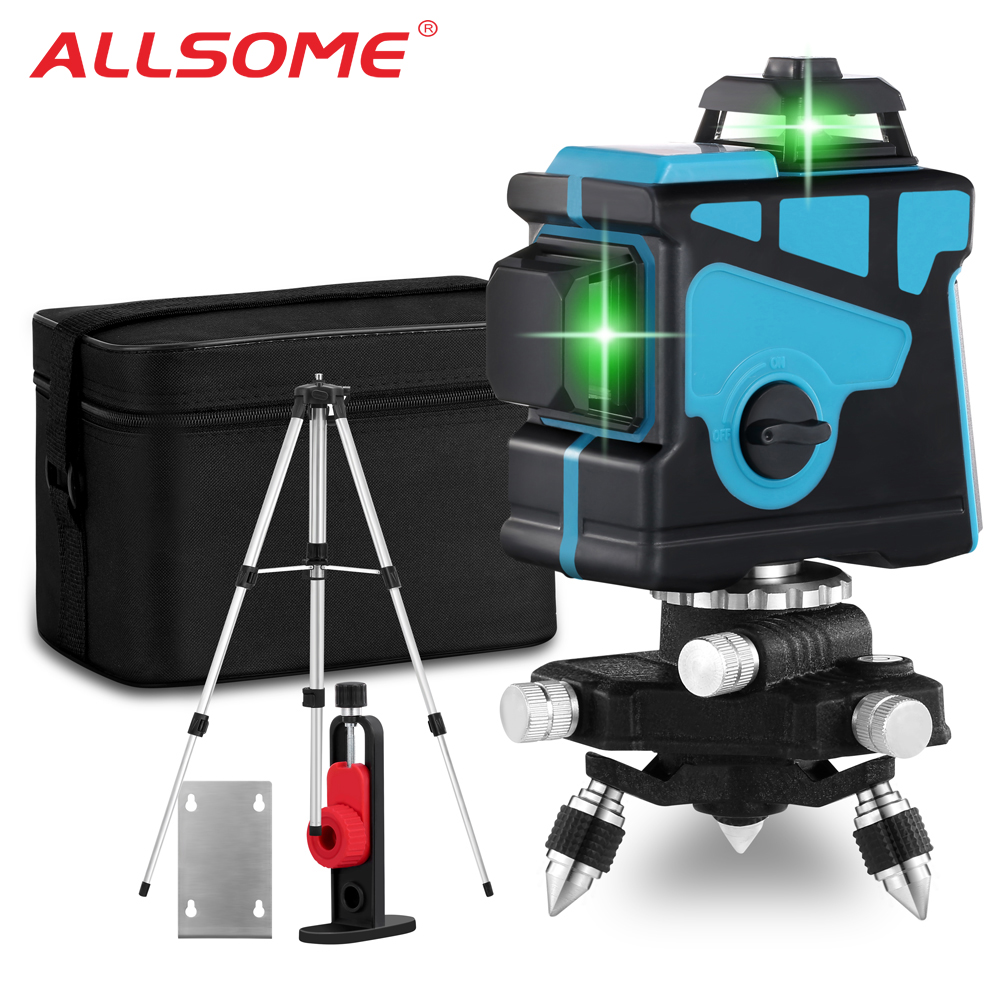 ALLSOME 12 Lines 3D Green Laser Level Self-Leveling 360 Degree Horizontal And Vertical Cross Lines Green Laser Line With Tripod