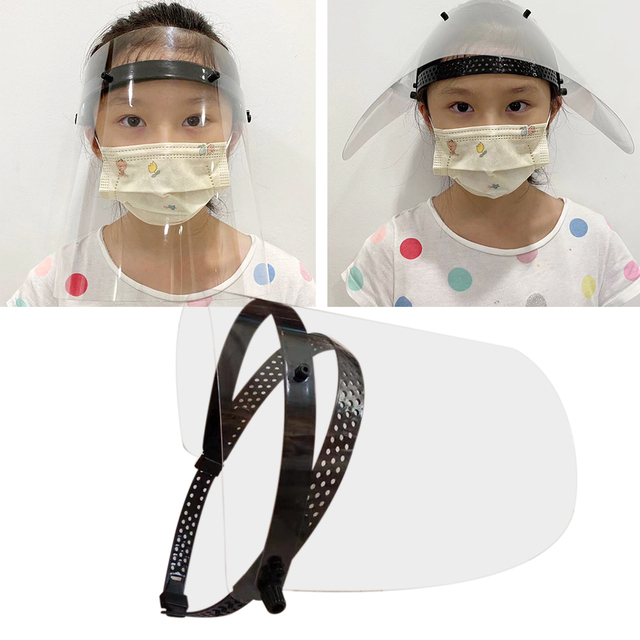Portable Clear Full Face Masks with Movable Buckle Adjustable Band Men Women Protective Mask Caps for Workplace Outdoor Office 3