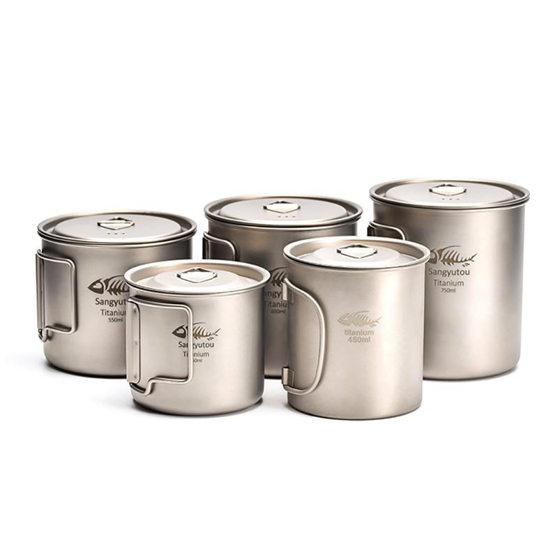 Titanium Cup Outdoor Titanium Cup Mug Pots Portable Cup Mug Camping Picnic Water Cup Tableware Coffee Tea Pot Accessories Outdoor Tools     - title=