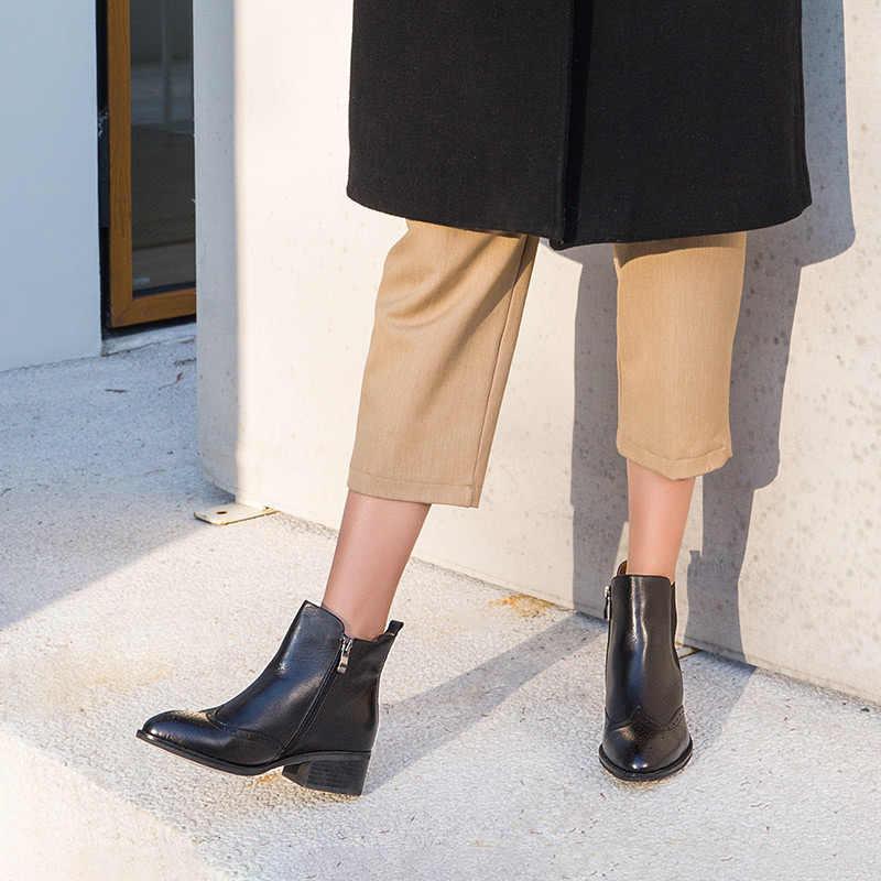 BeauToday Kadın Chelsea Çizmeler Marka En Kaliteli Buzağı Deri Ilkbahar Sonbahar Ayak Bileği Uzunluğu Bayanlar Brogue Çizmeler El Yapımı 03241