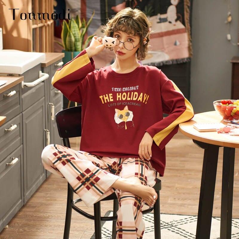 Dames pyjamas ensemble printemps et automne à manches longues mince dessin animé mignon pyjamas grande fille pyjamas frais doux décontracté étudiant pyjamas