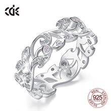 CDE 925 Sterling Silber Ringe für Frauen Hohl Geheimnis Garten Engagement Zirkon Finger Ring Bijoux Femme Schmuck Größe 6  10