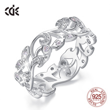 CDE 925 Sterling Zilveren Ringen voor Vrouwen Hollow Secret Garden Engagement Zirkoon Vinger Ring Bijoux Femme Sieraden Maat 6  10