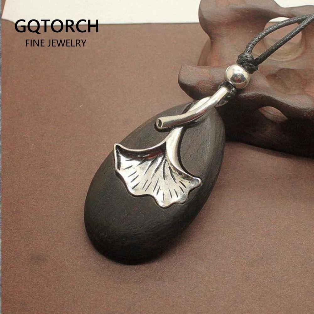 Natural Sandalwood Engraved Ginkgo Leaf Pendant Necklace For Women Elegant Long Sweater Necklace Handmade Jewelry