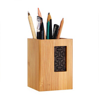 Creative Design Garden Style Bamboo Wood Desk Pen Pencil Holder Stand Organizer for Office School      -