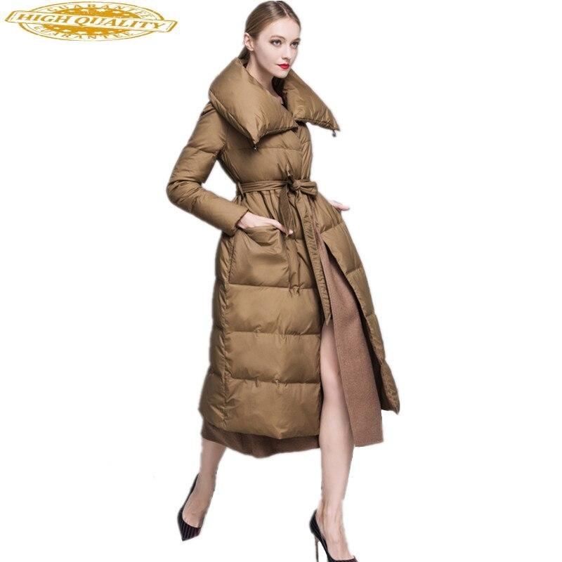 2020 European Brand Women's Down Jacket Wool Blend Liner Long Thicken Winter Coat Women White Duck Down Jackets Y-1612C