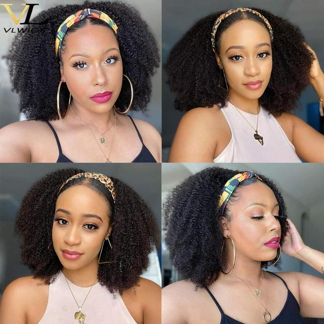 Big Sale A913 Vlwigs Afro Kinky Curly Wig Human Hair Headband Wig For Balck Woman Short Curly Machine Made Human Hair Wig With Headband Wigs Cicig Co
