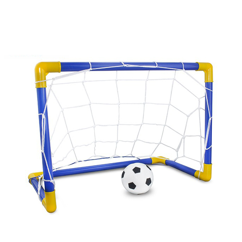 Durable Folding Mini Football Soccer Goal Post Net Set With Pump Kids Sport Indoor Outdoor Games Toy Child Birthday Gift Plastic(China)