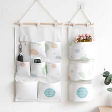 Nordic Style Storage Hanging Bag Simple Wall Hanging Dormitory Door Cotton Linen Storage Bag