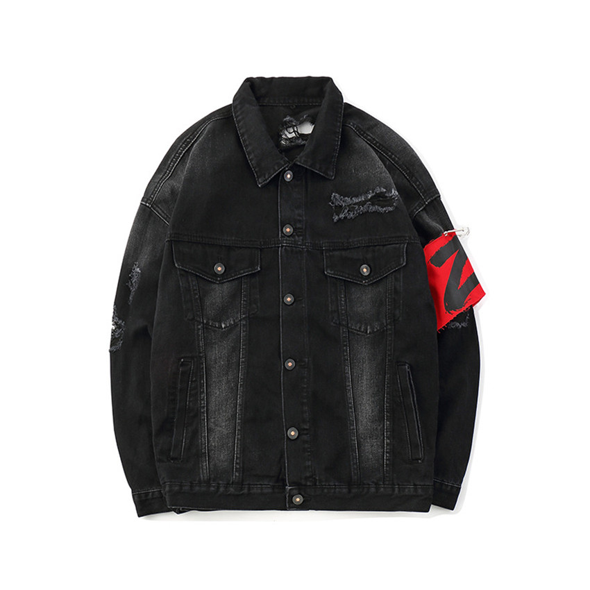 Denim Jackets Men Patch Print Hip Hop Jeans Jacket Men 2019 Autumn Black Material Denim Jackets Men Casual Jackets Streetwear - 3
