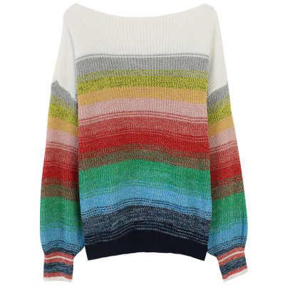Makuluya gevşek şerit kontrast renk kadın yün sevimli güzel gökkuşağı jakarlı Mori örme kazak Tops kazak giyim L6