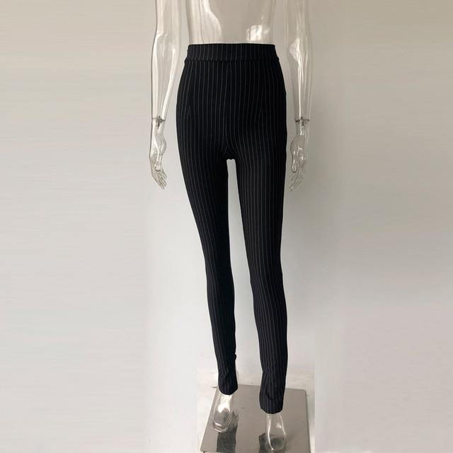 KGFIGU Office pants For women 2020 High waist striped trousers women Side split OL style Skinny long Bottom Have stretchy White 37