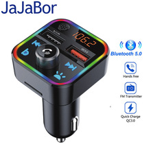 JaJaBor FM Transmitter Bluetooth Car Kit Bass Stereo MP3 Player with LED Atmosohere Light Wireless Handsfree QC3.0 Quick Charge