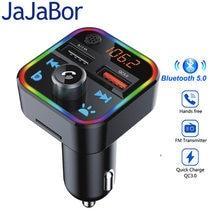 Jajabor fm transmissor bluetooth carro kit baixo estéreo mp3 player com led atmosohere luz sem fio handsfree qc3.0 carga rápida